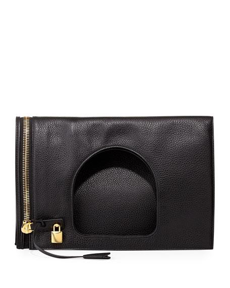 Tom Ford Alix Leather Padlock & Zip Shoulder Bag, Black, Blkblack