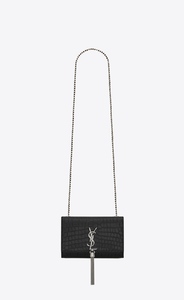 bd03d58e411 Saint Laurent Classic Small Kate Tassel Chain Bag In Black Crocodile  Embossed Leather