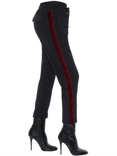 Haider Ackermann Woman Velvet-trimmed Cotton And Wool-blend Track Pants Black In Black/red