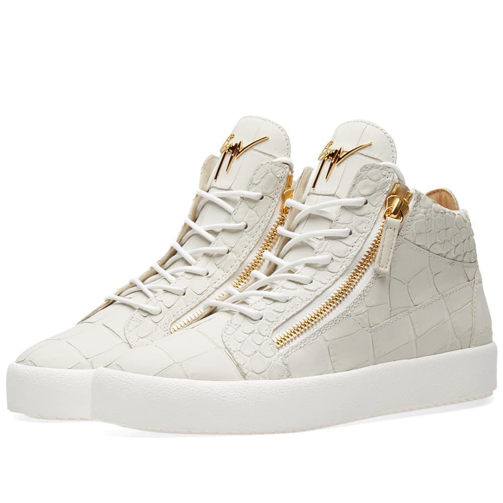 fde27010ed3bd Giuseppe Zanotti Leather Croc Double Zip Mid Sneaker In White | ModeSens