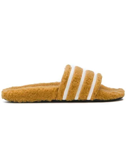04e460d3c Adidas Originals Adilette Furry Slider Sandals In Tan - Black In Yellow