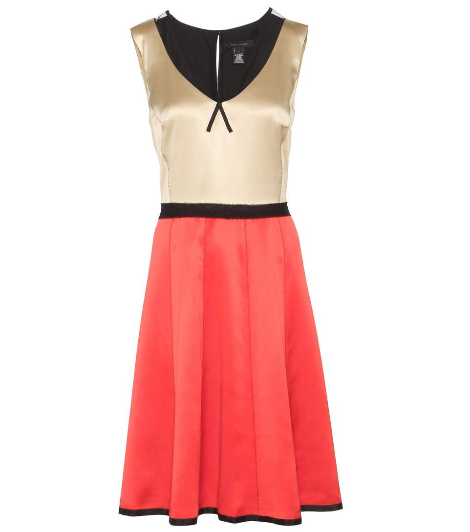 Marc Jacobs Sleeveless Silk Satin V-neck Dress In Eude