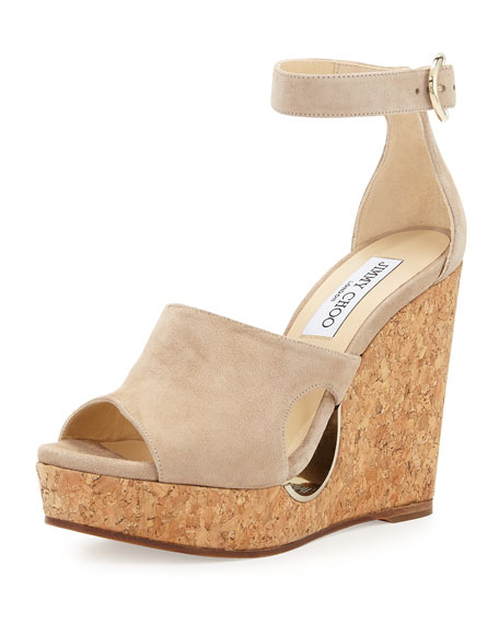 82b5f96147c9 Jimmy Choo Neyo 120 Cutout Suede Ankle-Strap Cork Wedge Sandals In Nude