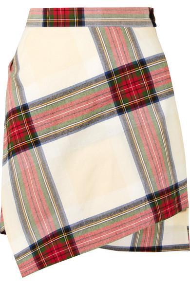 Vivienne Westwood Asymmetric Tartan Cotton Mini Skirt In Red