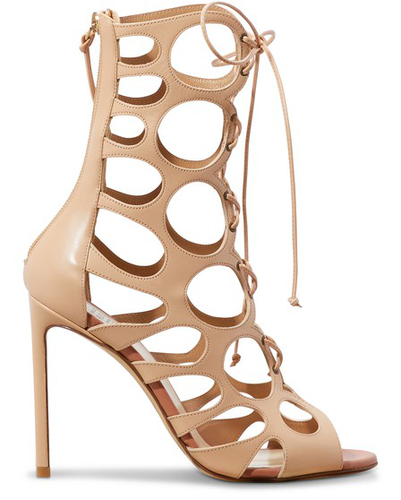 Francesco Russo Cutout Leather Sandals In Nude & Neutrals