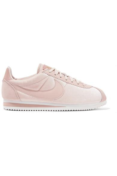 super popular 94854 6e66b Classic Cortez Suede And Leather-Trimmed Velvet Sneakers in Pastel Pink