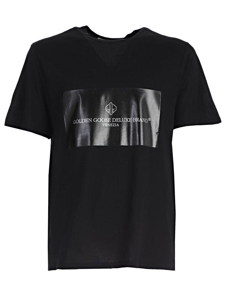 Golden Goose Black Cotton T-Shirt With Logo In Cblack