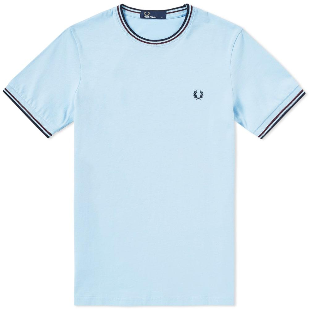 21227cd0e Fred Perry Twin Tipped T-Shirt In Light Blue - Blue. SIZE   FIT INFORMATION