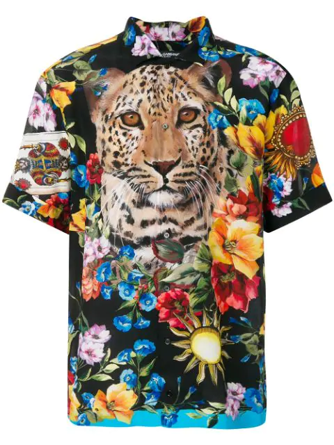 Dolce & Gabbana Leopard And Floral Print Shirt In Blue