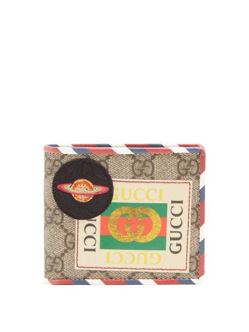 8cf54a3b158b Gucci Gg Supreme Logo And Planet-Patch Wallet In Brown Multi | ModeSens