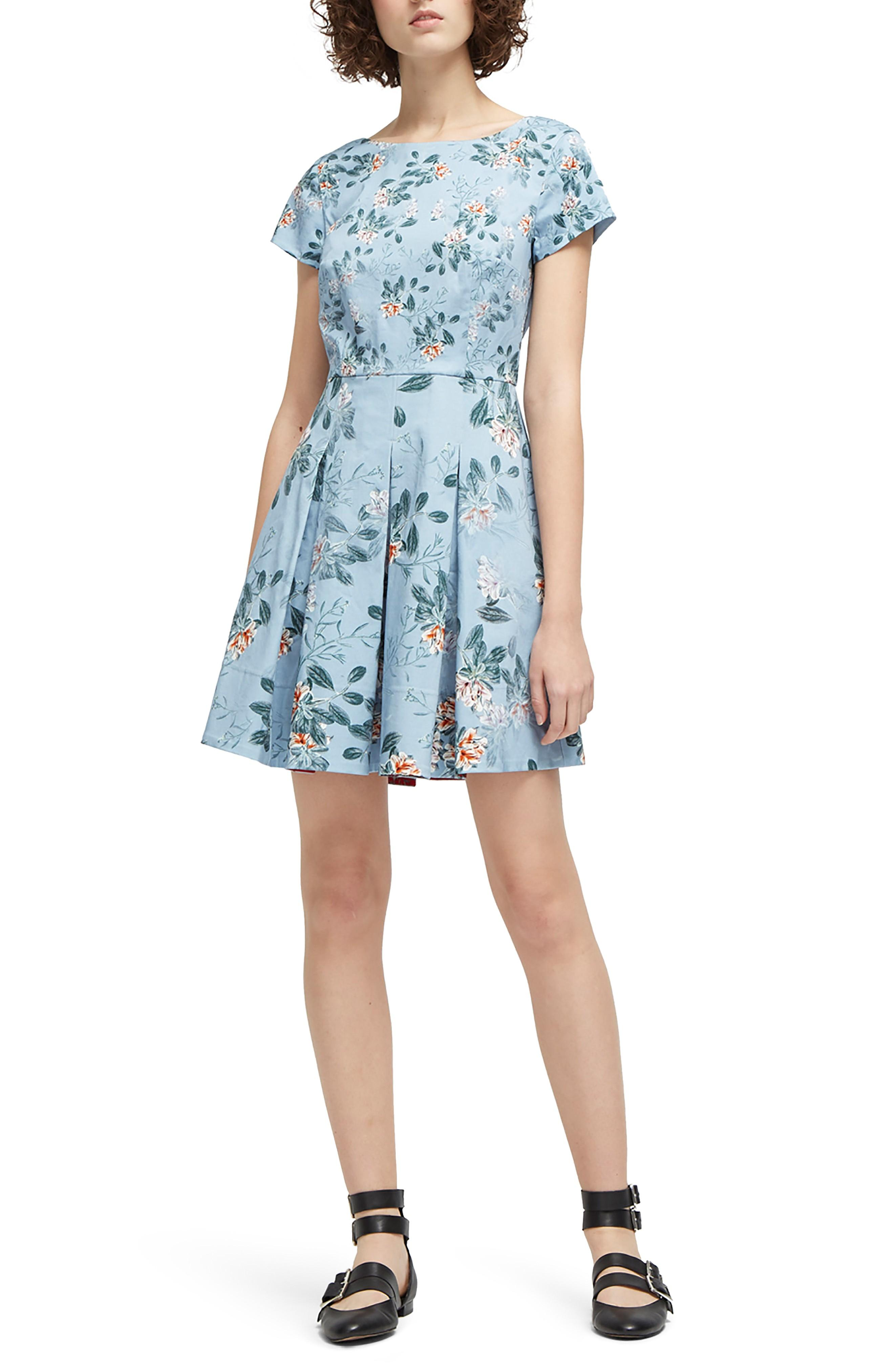 214f62ef2a6 French Connection Kioa Fit & Flare Dress In Pavilion Blue Multi ...