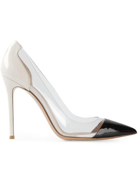 Gianvito Rossi Plexi Leather And Transparent Pumps In No Color