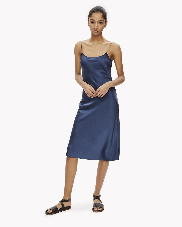 2d1d3dd320 Theory Woman Fluted Silk-Satin Midi Slip Dress Indigo