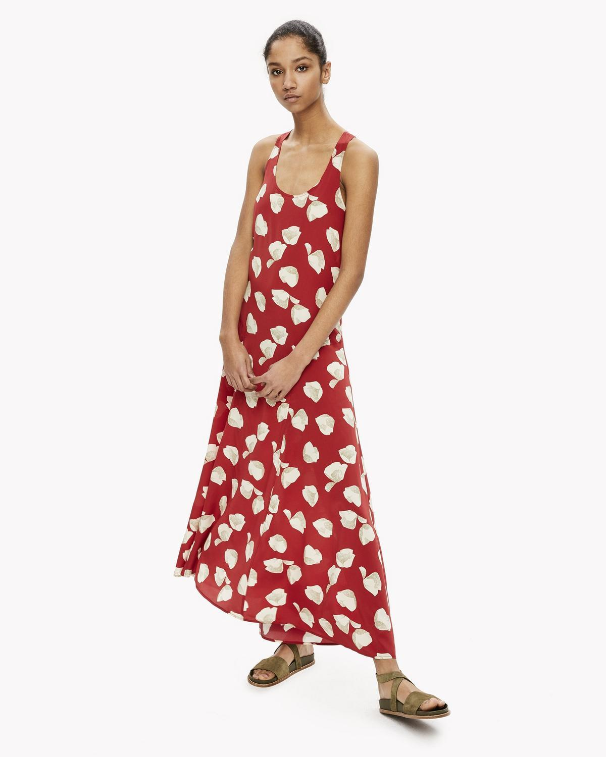 23ee3f5b80 Theory Printed Silk Crepe Maxi Dress In Crimson Red Ivory