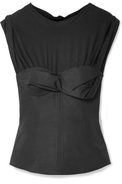576795d28e6 Alexander Wang Layered Gathered Cotton-Poplin Bustier Top In Black ...