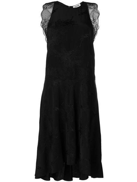 Zadig & Voltaire Jacquard Silk Dress With Lace In Black