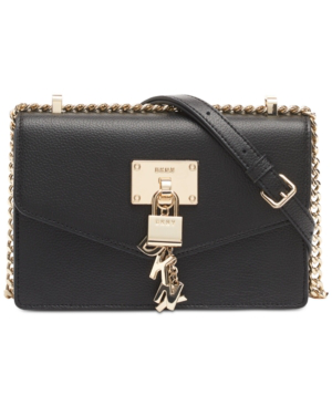 Dkny Elissa Small Leather Flap Shoulder Bag, Created For Macy's In Black