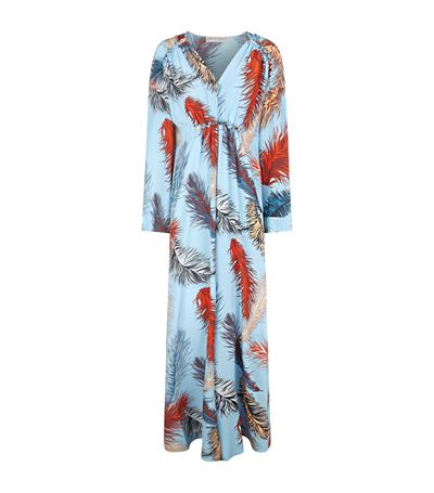 Emilio Pucci Woman Ruffle-trimmed Printed Silk-crepe Maxi Dress Light Blue