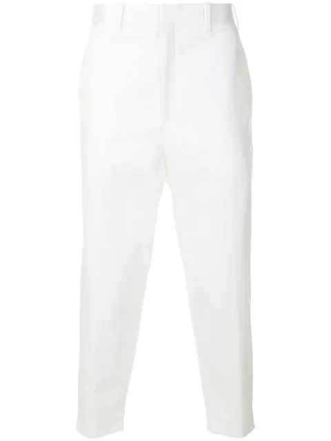 Neil Barrett Tapered-Leg Stretch-Cotton Cropped Trousers In White
