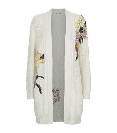 Valentino Embroidered Cable-knit Wool And Alpaca-blend Cardigan In White