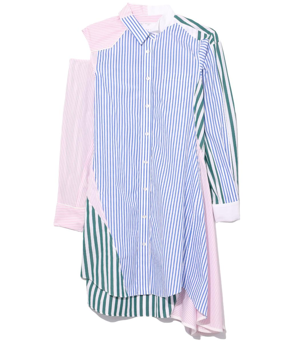 f8c2937338b26 Sacai Cutout Patchwork Striped Cotton-Poplin Shirt Dress In Multicolor