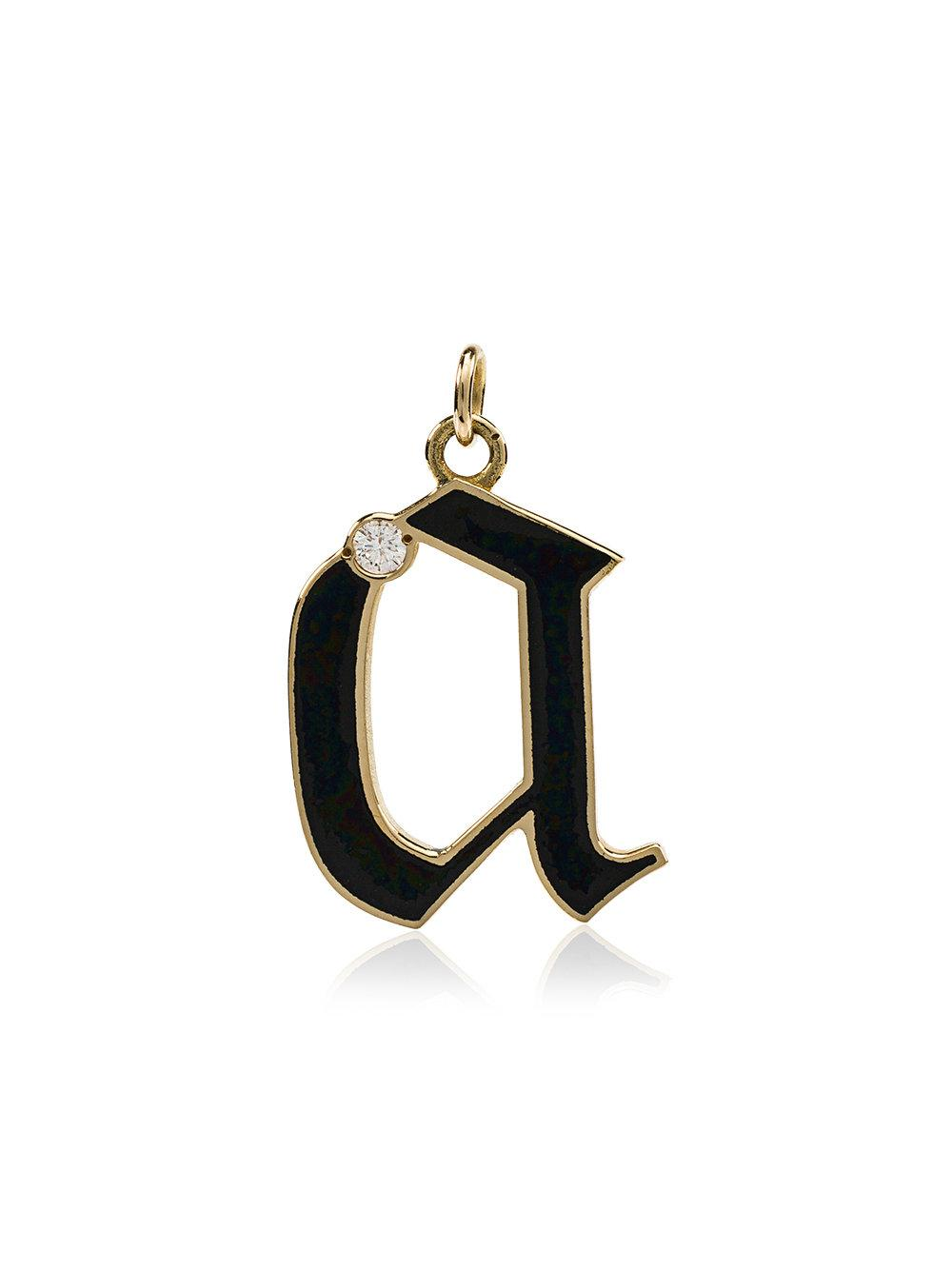 Foundrae Diamond Point A Initial Charm In Black