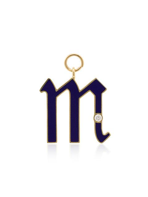 Foundrae Ladies Blue 18kt Gold Diamond Point M Initial Charm