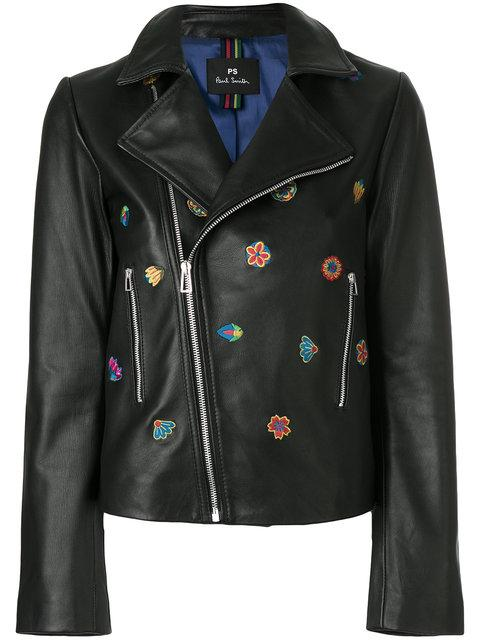 Ps By Paul Smith Kyoto Floral Embroidery Biker Jacket