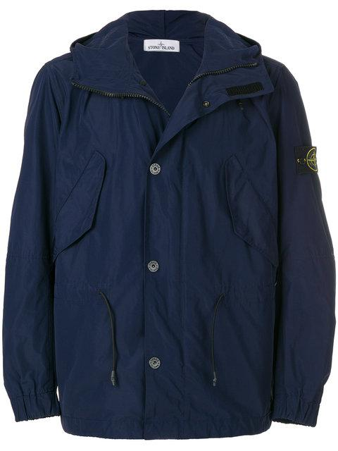Stone Island Micro Reps Hooded Parka Jacket In Blue