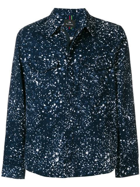 Ps By Paul Smith Paint Splash Print Shirt Jacket In Blue