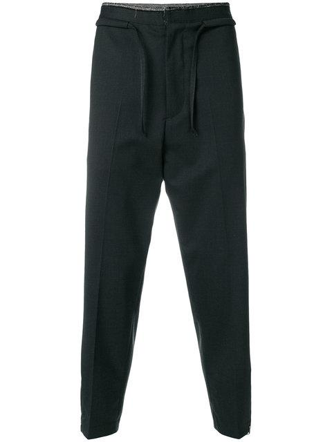 Oamc Cropped Drawstring Trousers In Grey