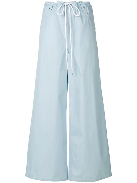 Mm6 Maison Margiela Drawstring Palazzo Pants In Blue