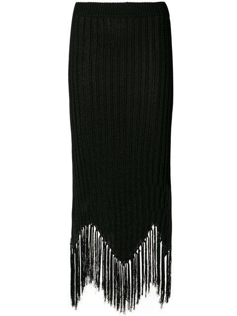 Moschino Fringed Rib Knit Midi Skirt