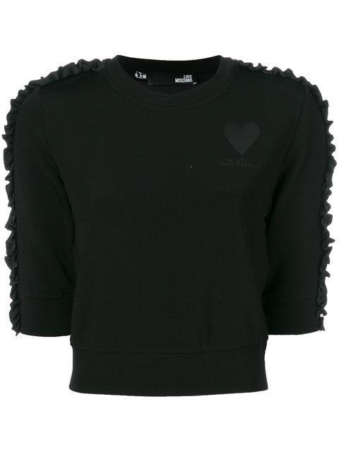 Love Moschino Cropped Ruffle Trim Sweatshirt