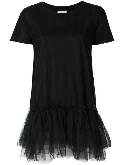 P.a.r.o.s.h. Tulle Hem T-shirt - Black