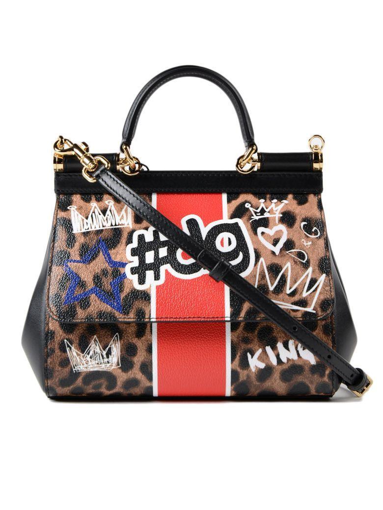 Dolce & Gabbana Leopard Graffiti Sicily Small Shoulder Bag In Hai#dg Leo Nat Graffiti