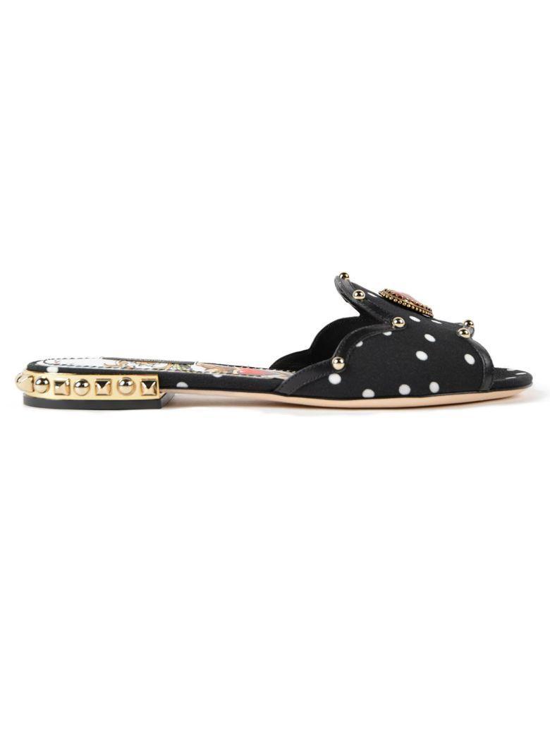 Dolce & Gabbana Polka Dot Slippers In Hnmcarte Gioco Fdo.nero