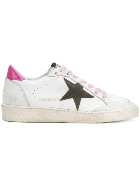 Golden Goose Sneakers Ball Star White Leather Olive Star