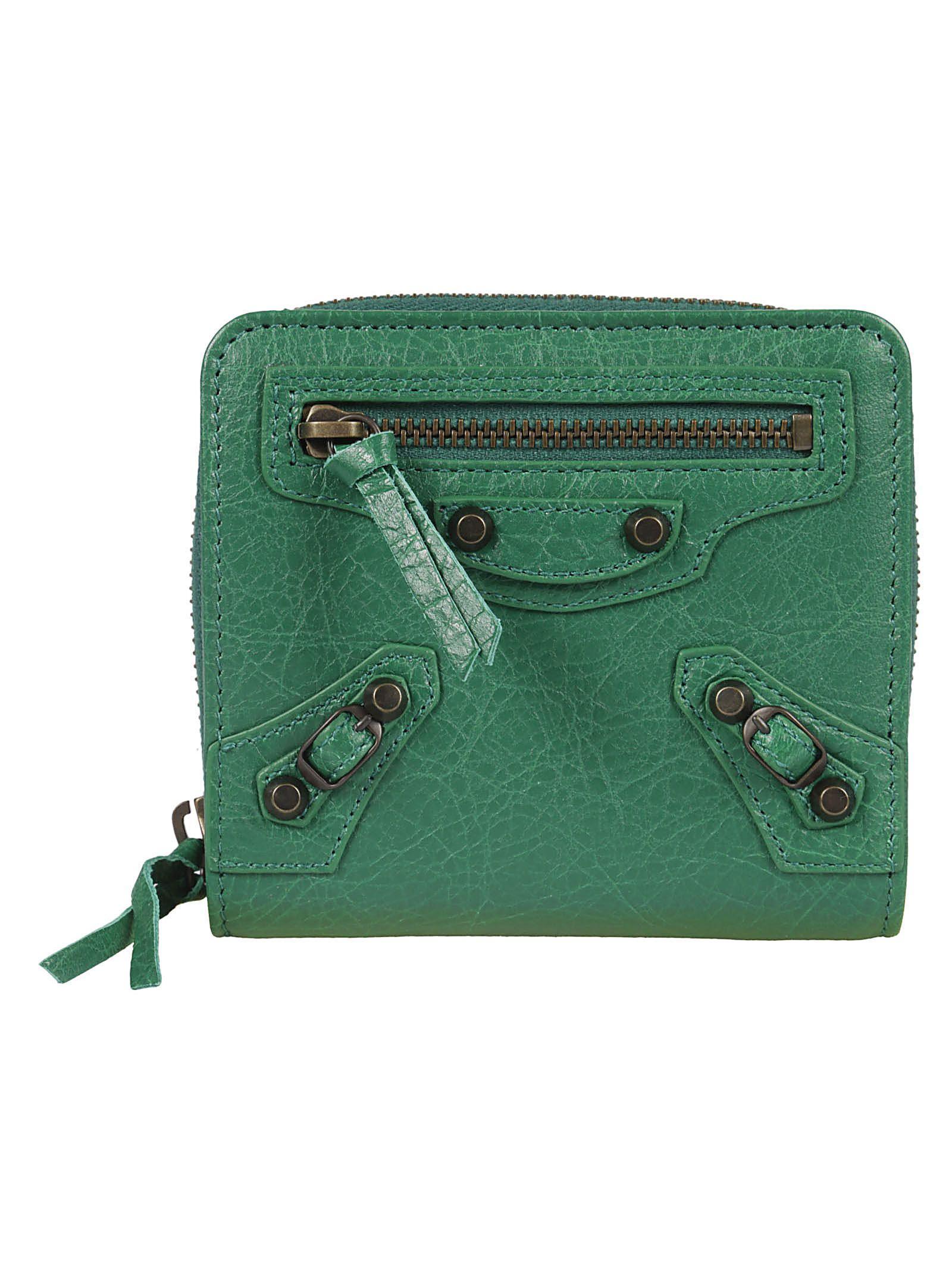 Balenciaga Classic French Wallet In Vert