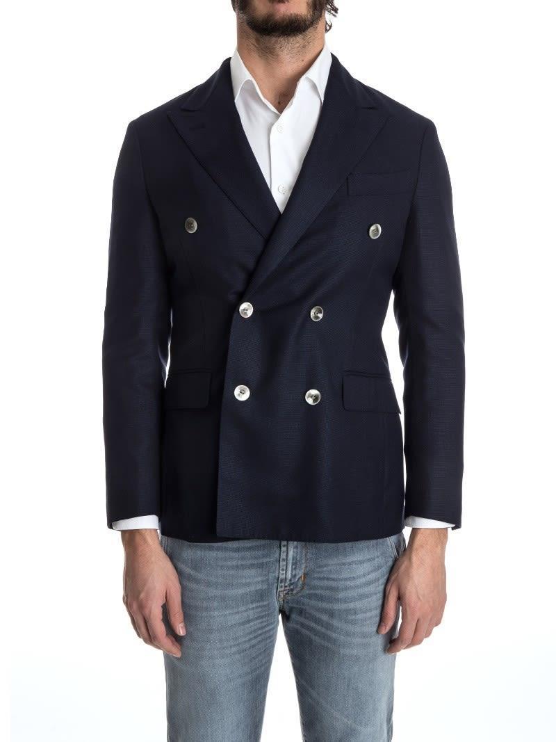 Boglioli Double-breasted Jacket Wool  In Blue