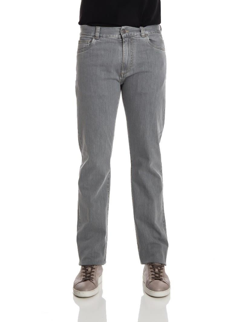 Canali Cotton Jeans  In Gray