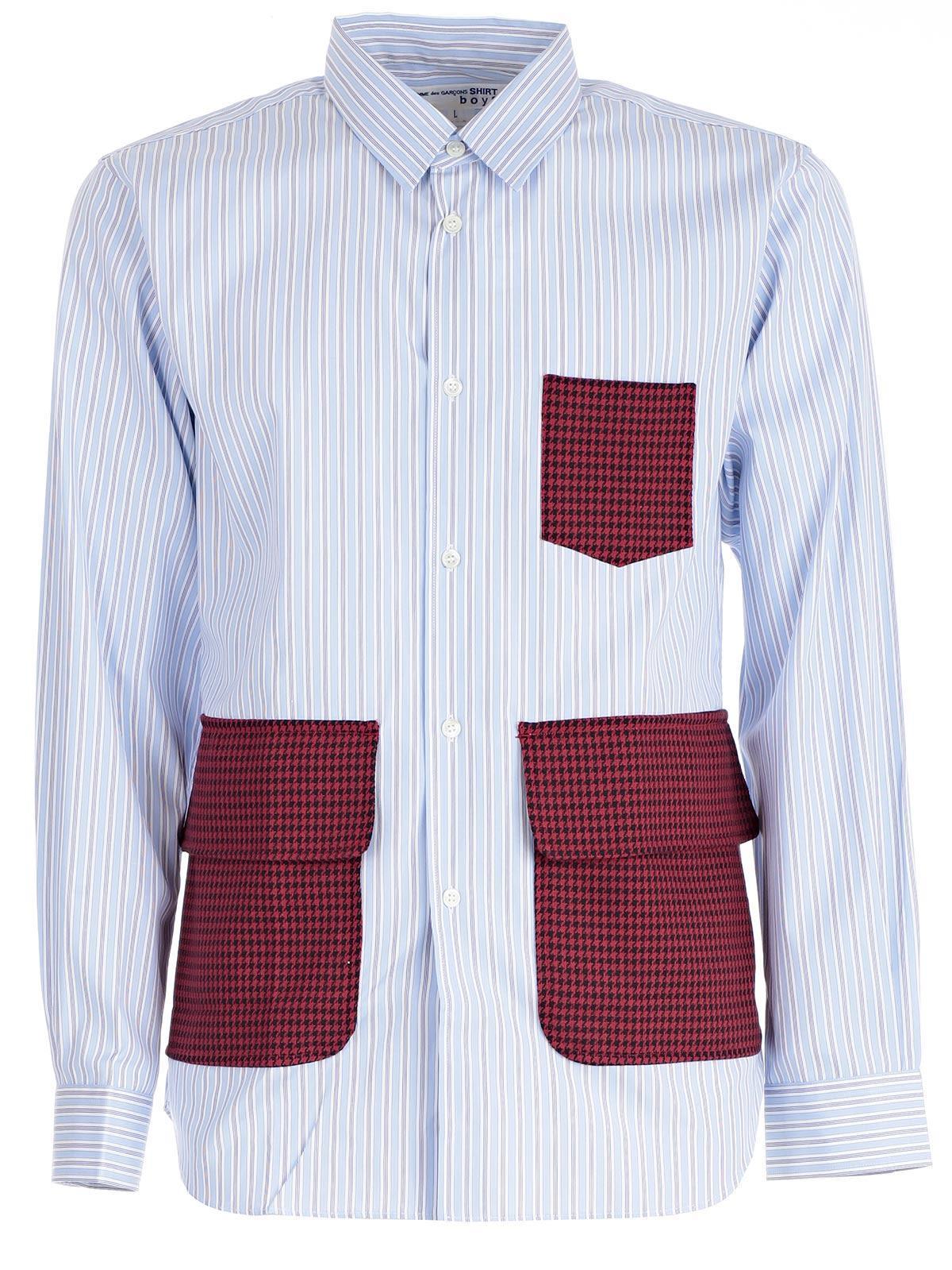Comme Des GarÇons Shirt Shirt In Stripe Red