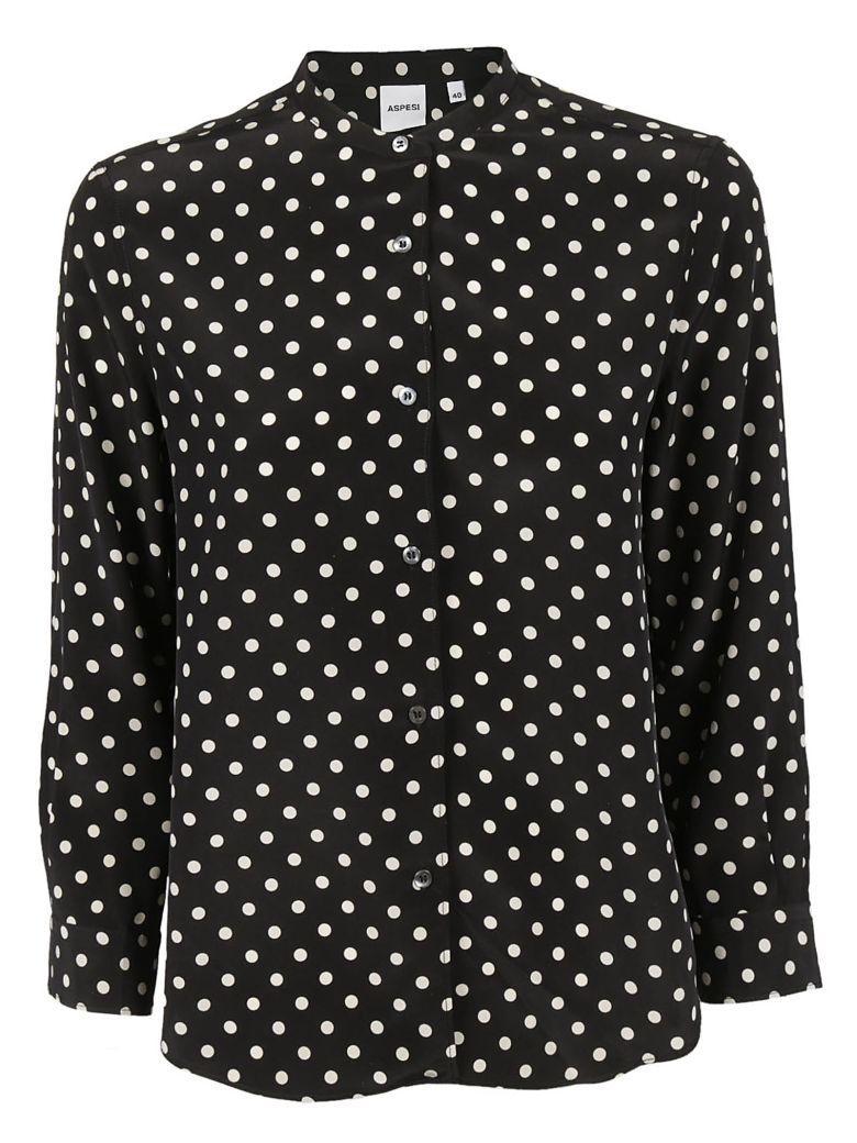 Aspesi Polka Dot Shirt In Black
