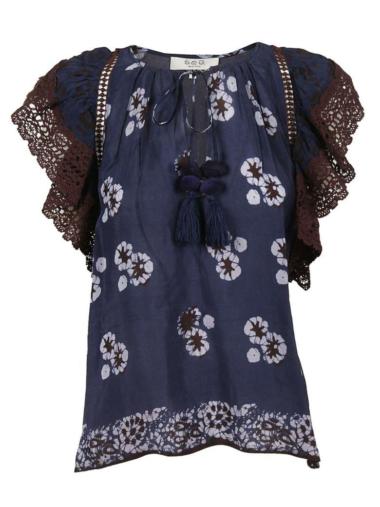 Sea Ny Floral Top In Navy-multi