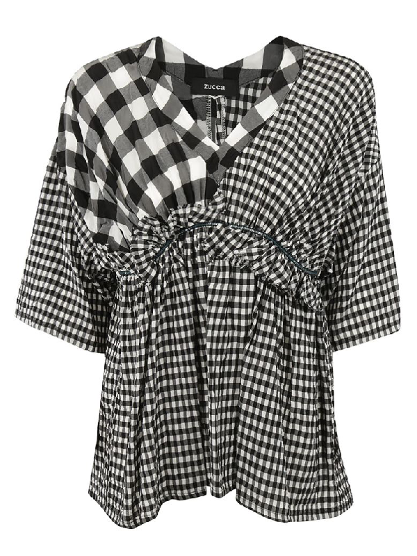 Zucca Check Patterned Top In Black-white