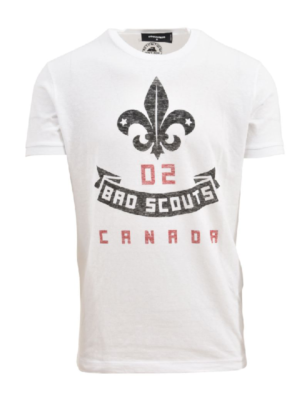 Dsquared2 2 Bro Scouts Crest Print T-shirt In White