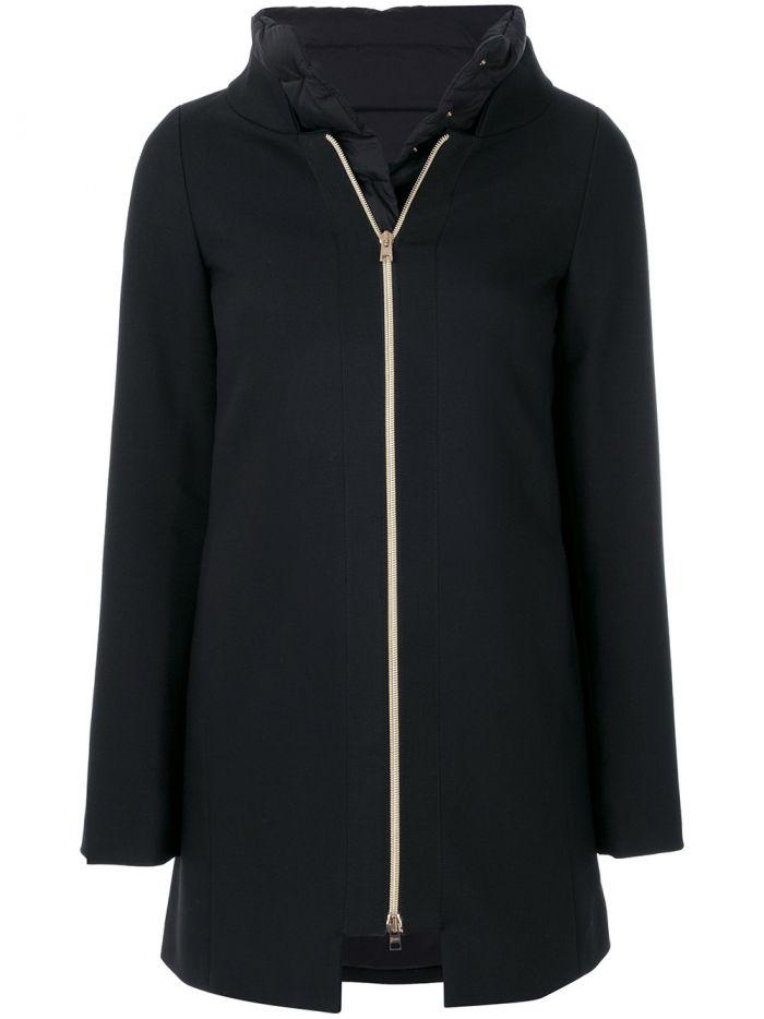 Herno Padded Zipped Coat In Black