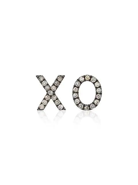 Rosa De La Cruz Rose Gold And Brown Diamond Xo Earrings