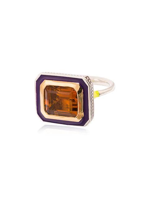 Alice Cicolini 22k Yellow Gold Silver Emerald Cut Citrine Ring In Multicolour