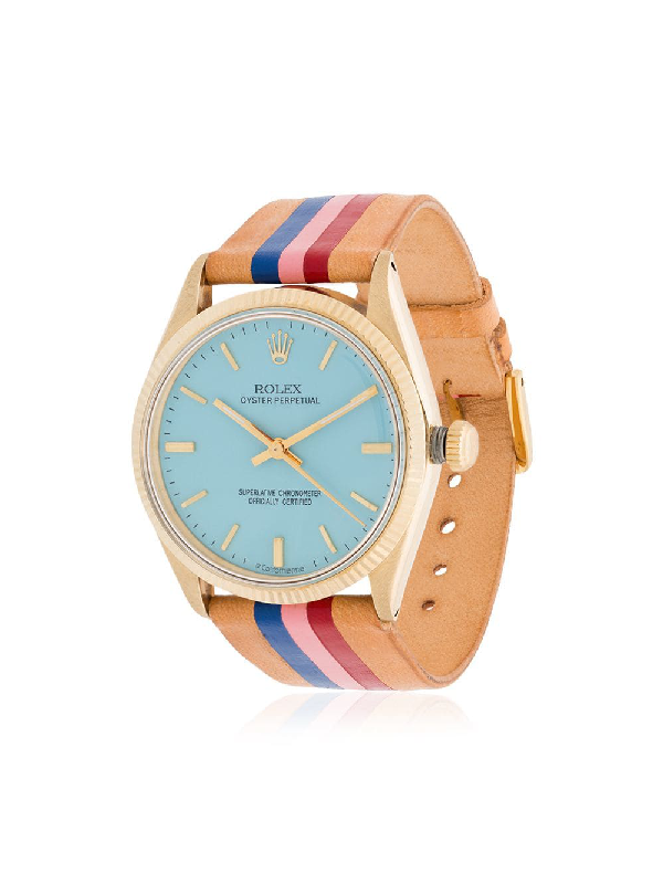 La Californienne Pastel Blue Capitola Rolex Oyster Perpetual Solid Gold Watch